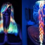 Волосы, светящиеся в черном свете